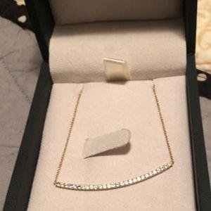 Blue Topaz, &  Peridot Bar Necklace in 14K gold